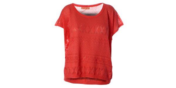 Dámsky korálovo červený pletený top Daphnea
