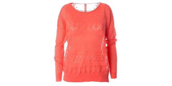 Dámsky korálovo červený pletený sveter s dlhým rukávom Daphnea