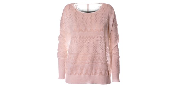Dámsky biely pletený sveter s dlhým rukávom Daphnea
