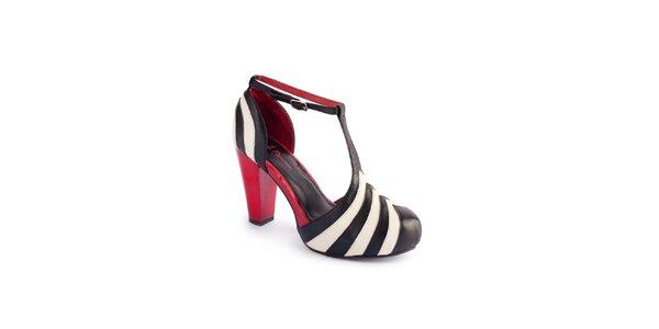 Dámske čierno-krémové sandálky Lola Ramona s červenými detailami