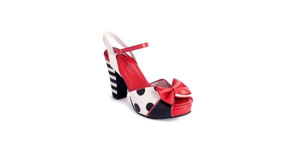 Dámske čierno-bielo-červené sandálky Lola Ramona