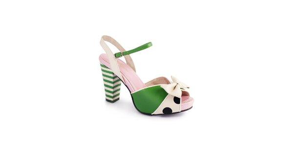 Dámske zeleno-krémové sandálky Lola Ramona