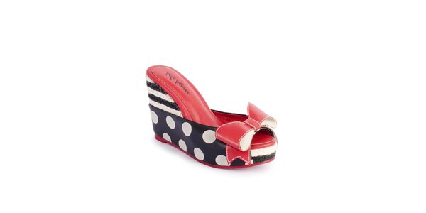 Dámske čierno-biele pantofle Lola Ramona na vysokom podpätku