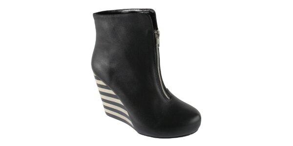Dámske čierne kotníkové topánky Lola Ramona na vysokom podpätku