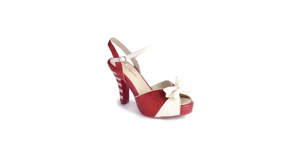 Dámske červeno-biele sandálky Lola Ramona s mašľou a trblietkami