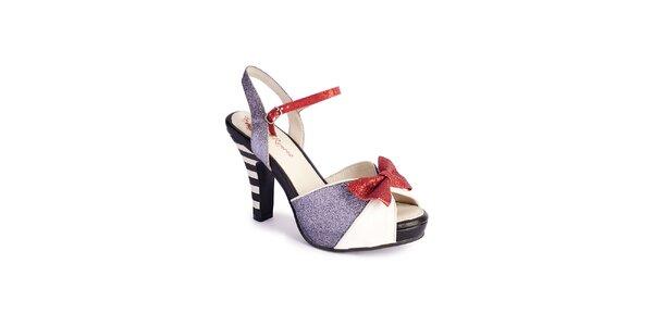 Dámske strieborno-biele sandálky Lola Ramona s červenou mašľou a trblietkami
