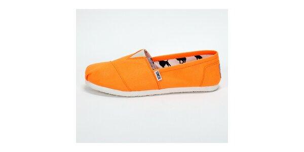 Pánske sýto oranžové plátené tenisky Toms