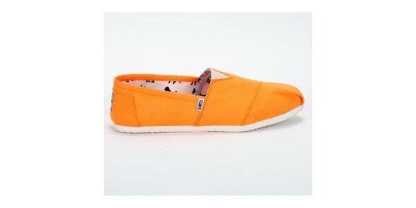 Dámske sýto oranžové plátené tenisky Toms