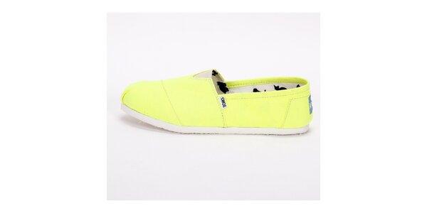 Pánske neónovo žlté plátené tenisky Toms