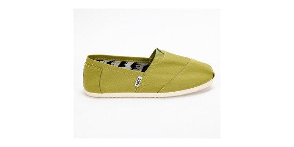 Dámske olivovo zelené plátené tenisky Toms