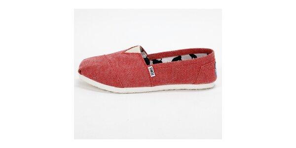 Dámske červené melírované plátené tenisky Toms