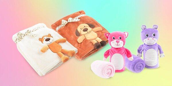 Detské deky s maňuškou, aplikáciou alebo plyšákom