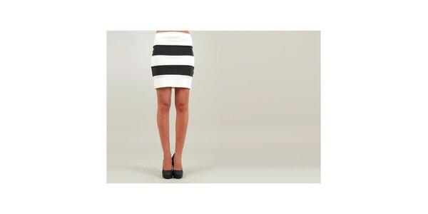 Dámska bielo-čierna púzdrová sukňa Ginger Ale so širokými pruhmi