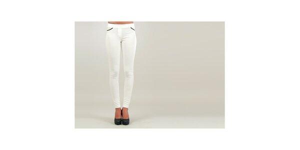 Dámske biele úzke nohavice s čierno lemovanými vreckami Ginger Ale