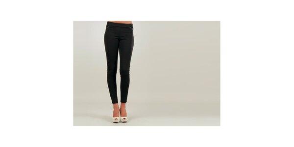 Dámske čierne úzke nohavice s čierno lemovanými vreckami Ginger Ale
