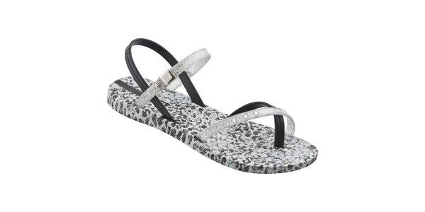 Dámske čierno-strieborné sandálky Ipanema s leopardím vzorom