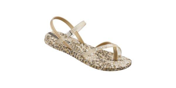 Dámske zlato-hnedé sandálky Ipanema s leopardím vzorom