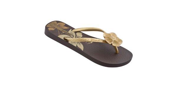 Dámske zlato-hnedé žabky Ipanema s kvetinkou