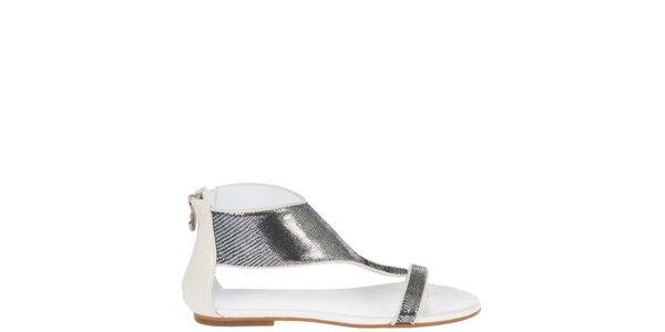 Dámske bielo-strieborné sandálky Miss Sixty