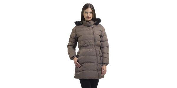 Dámska svetlo hnedá páperová bunda Bleifrei s kožušinkou a asymetrickým zipsom
