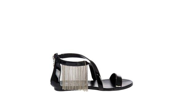 Dámske čierne lakované sandálky Miss Sixty so striebornými retiazkami