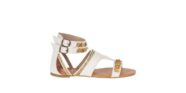 Dámske biele sandálky Killah so zlatou flitrovou výšivkou