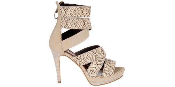 Dámske béžové sandálky Miss Sixty s aztéckým vzorom