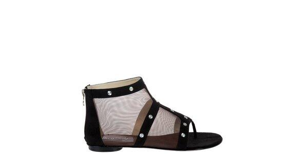 Dámske čierne sieťované sandálky Miss Sixty s kovovými cvokmi