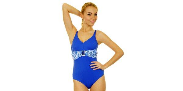 Dámske sýto modré jednodielne plavky Anizzia s bielym opaskom