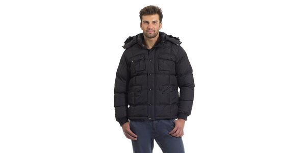Pánska čierna prešívaná páperová bunda Bleifrei s kožušinkou