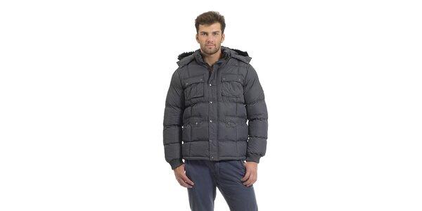 Pánska tmavo šedá prešívaná páperová bunda Bleifrei s kožušinkou