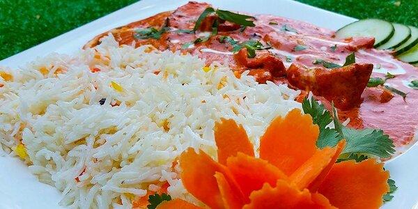 Butter chicken s basmati ryžou v Little india
