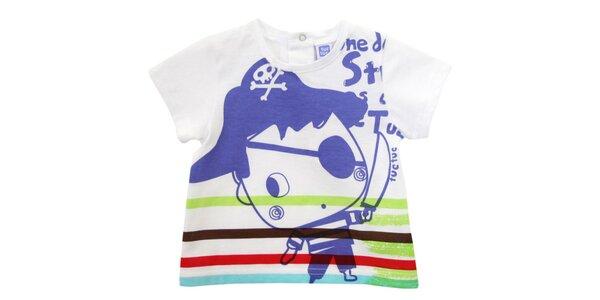 Biele kojenecké tričko Tuc Tuc s pirátom a farebnými prúžkami
