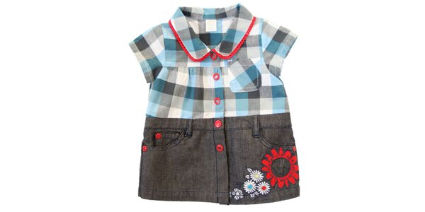 Detské kockované šaty s džínsovou spodnou časťou Tuc Tuc