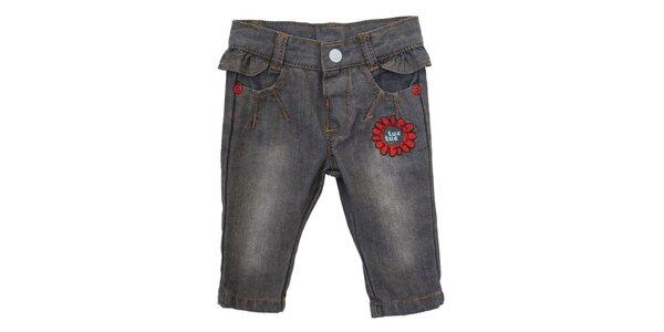 Detské šedé džínsy s volánikom a kvetinovou výšivkou Tuc Tuc