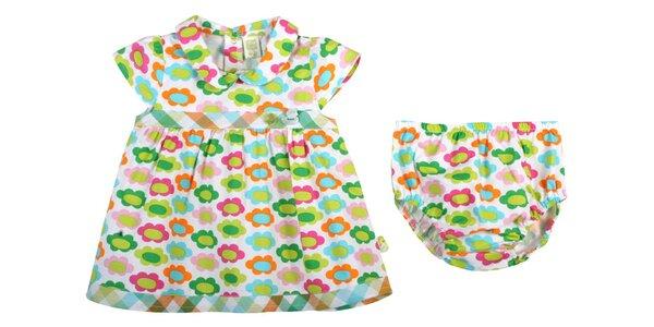 Zeleno-modré kojenecké šatičky s kvetinkami Tuc Tuc a nohavičkami