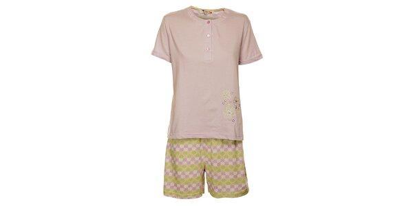 Dámske orgovánové pyžamo Isma s kvetinkami - šortky a tričko