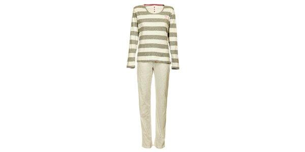 Dámske svetlo šedé pruhované pyžamo Admas - nohavice a tričko