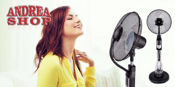Stojanový ventilátor s diaľkovým ovládaním, zvlhčovaním, chladením a časovačom