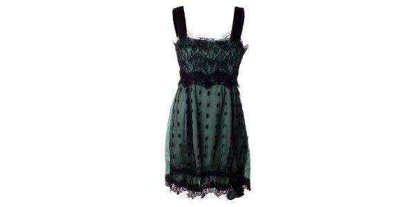 Dámske čierno-zelené čipkované šaty Twin - Set