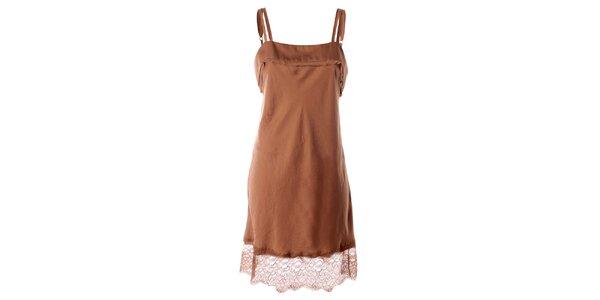 Dámske béžové tkané šaty s čipkovaným lemom Twin - Set