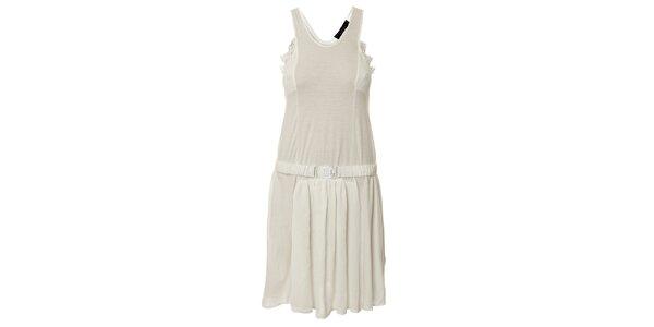 Dámske biele šaty s čipkou a opaskom Twin - Set