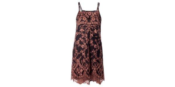 Dámske hnedé čipkované šaty Twin - Set