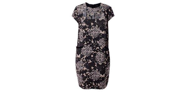 Dámske krémovo-šedo-čierne kvietkované retro šaty Twin - Set