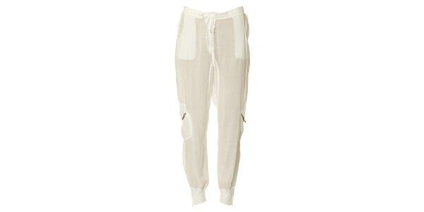 Dámske biele nohavice so zipsami na vreckách Twin - Set
