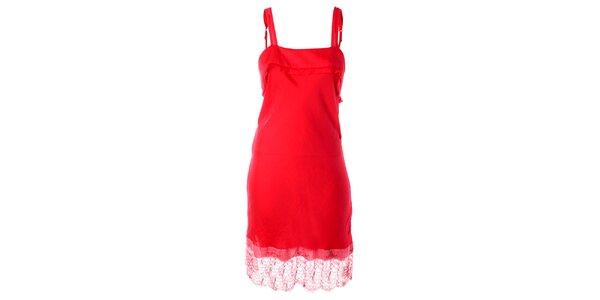 Dámske jahodovo červené tkané šaty s čipkovaným lemom Twin - Set