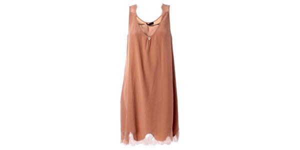 Dámske hodvábne telové šaty s čipkou Twin - Set