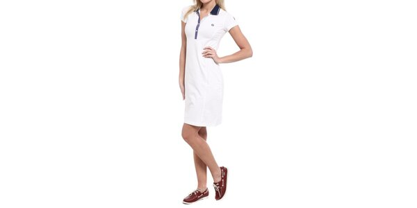 Dámske biele šaty s modrým golierikom Cooperativa