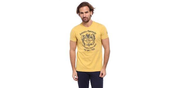 Pánske žlté tričko s modrou potlačou Cooperativa