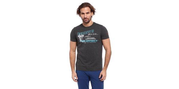 Pánske šedé tričko s modro-bielou potlačou Cooperativa